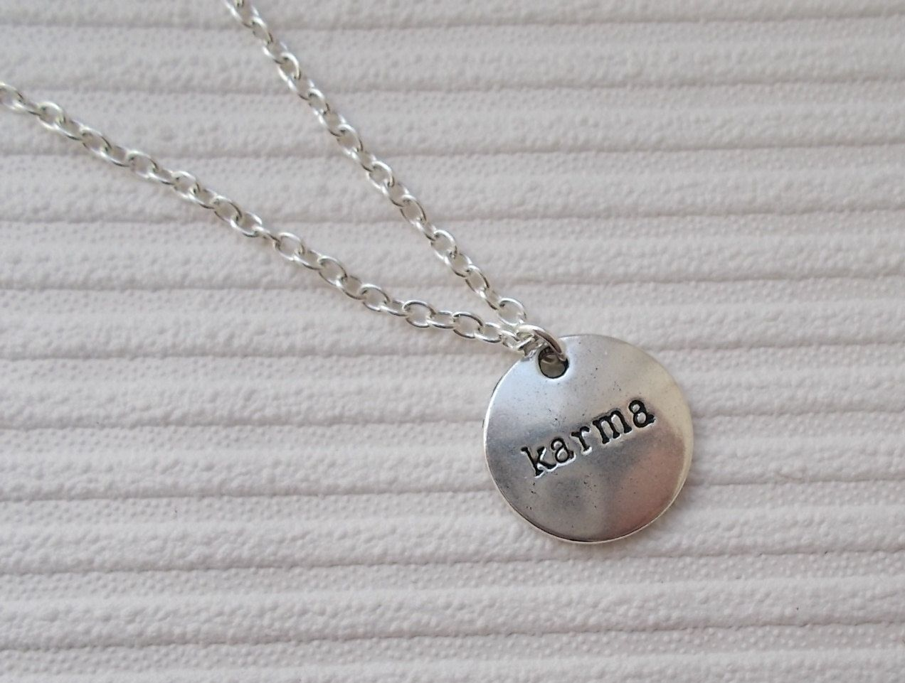silver karma necklace handmade necklace silver by nikajewellerybox, £4.99