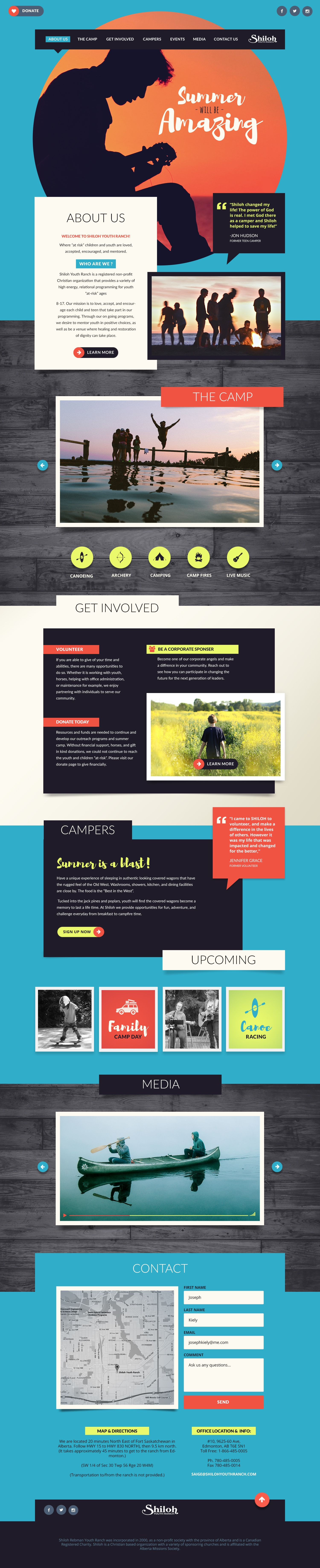 This Summer Camp Website Design Reflects The Energy Of Its Youthful Participants It Uses Bold Colors Unexpected Sha Website Design Branding Design Web Design
