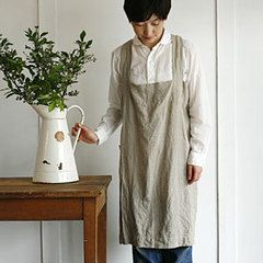7a4fe6050ad fog linen work (Fog linen work) linen Square cross apron Natural  fog fog  linen apron cloth kitchen cloth kitchen linen dress miscellaneous goods    DM No ...