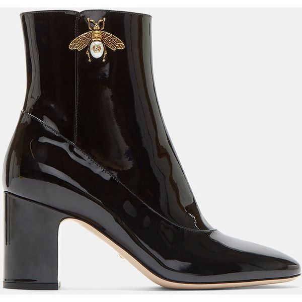 Gucci Gold Bee Motif Patent Ankle Boots ZkBLf