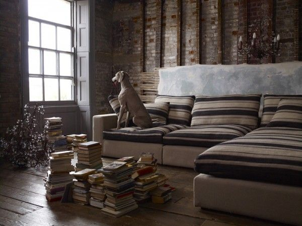 The Sofa Long Island Sectional In Navajo Coyote Stripes And White Sand Pure Belgian
