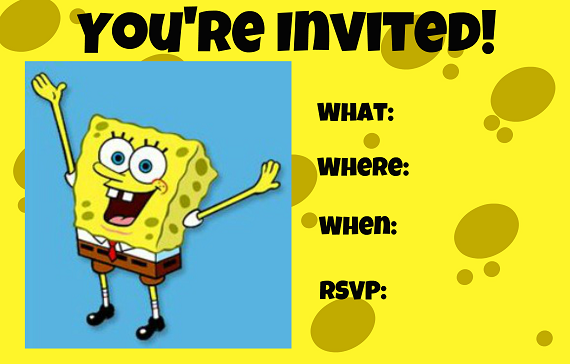 Free Printable Spongebob Birthday Invitations For Andrew