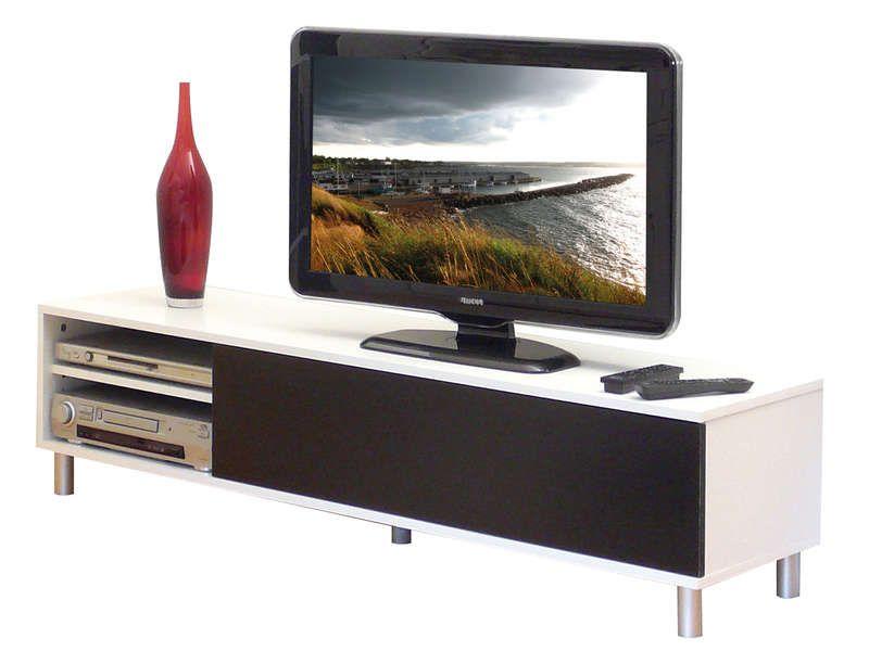 Meuble Tv 1 Abattant1 Nicheétagère Dany Coloris Blancnoir Vente