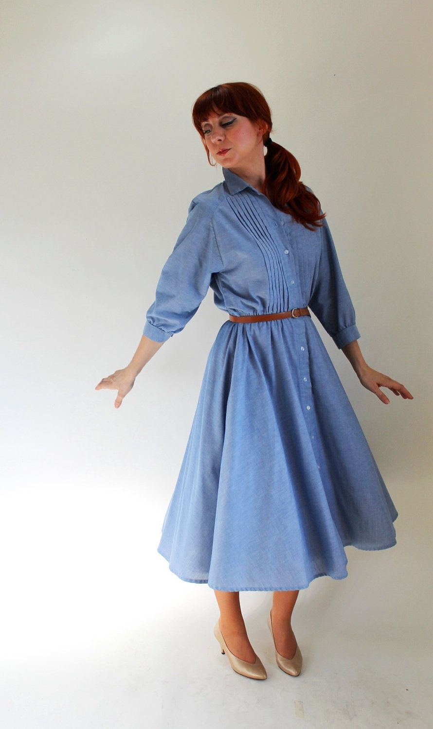 Sale - Vintage 1980s Blue Chambray Shirtdress. Mad Men Fashion ...
