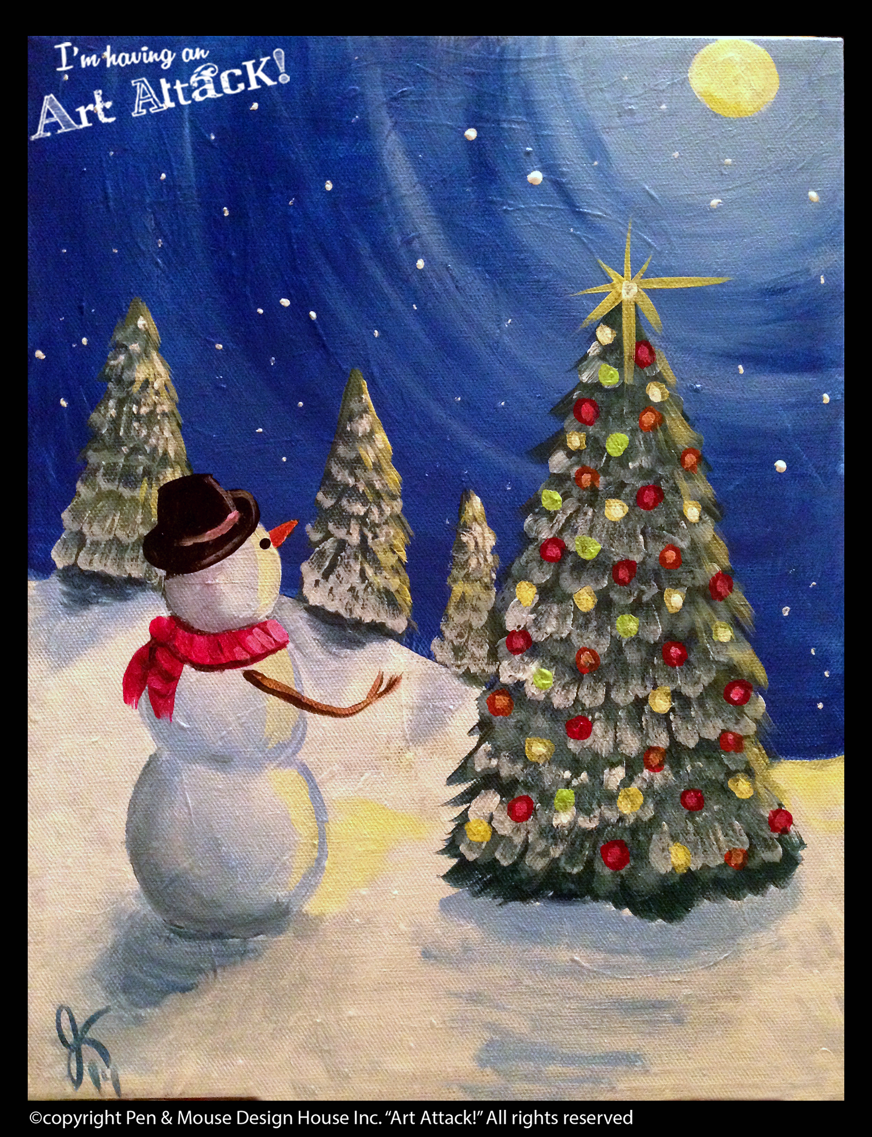 Snowman In Field Canvas Im Having An Art Attack Social Painting Parties Original Artwork By Julie Kukreja Www Artattackpaintparty Com