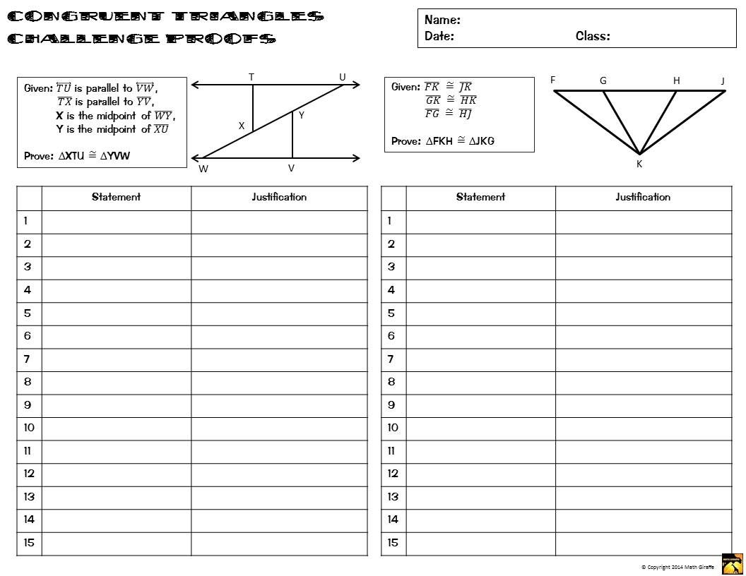 Congruent Triangles Proofs Two Column Proof Practice and Quiz – Proofs Worksheet