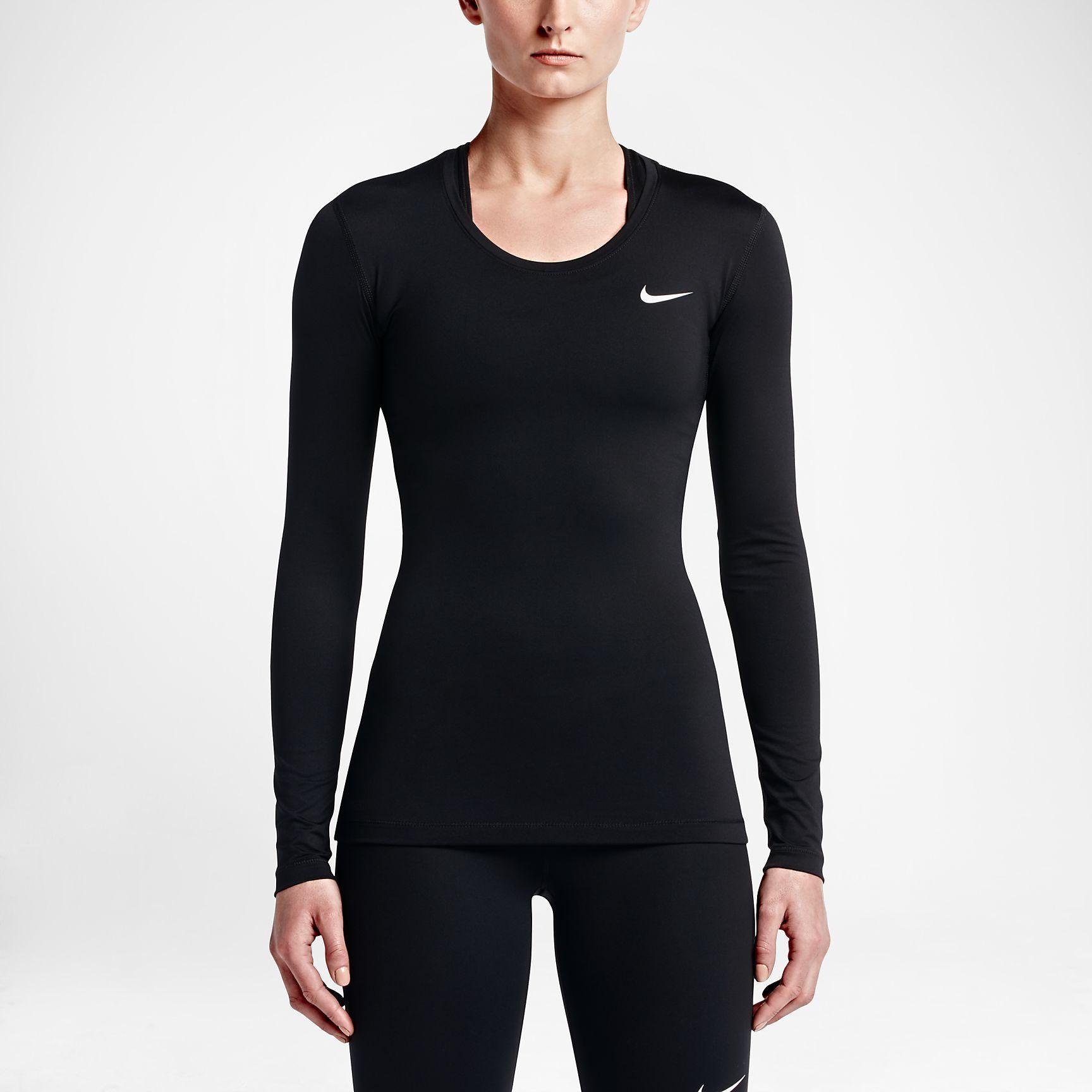 Nike Pro Women's Long Sleeve Training Tops White/Black