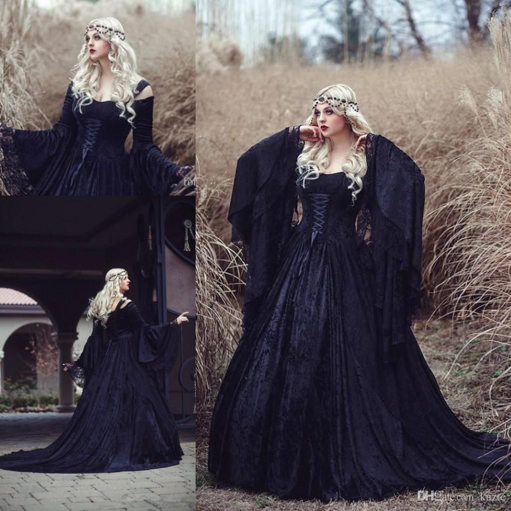 Discountplus Size Retro Gothic Wedding Dresses High Quality Black Full Lace Long Sleeved Medieval Bridal Gowns Lace Up Back With Train From Kazte 167 08 Dhg Gothic Wedding Dress Medieval Wedding [ 1024 x 1024 Pixel ]
