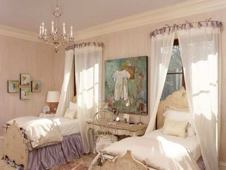 The Bed Canopies Are Just Curved Shower Curtain Rods With Simple White  Curtains And Light Purple Ribbon Attached To Top. Pretty For A Girlu0027s  Room.if I Ever ...