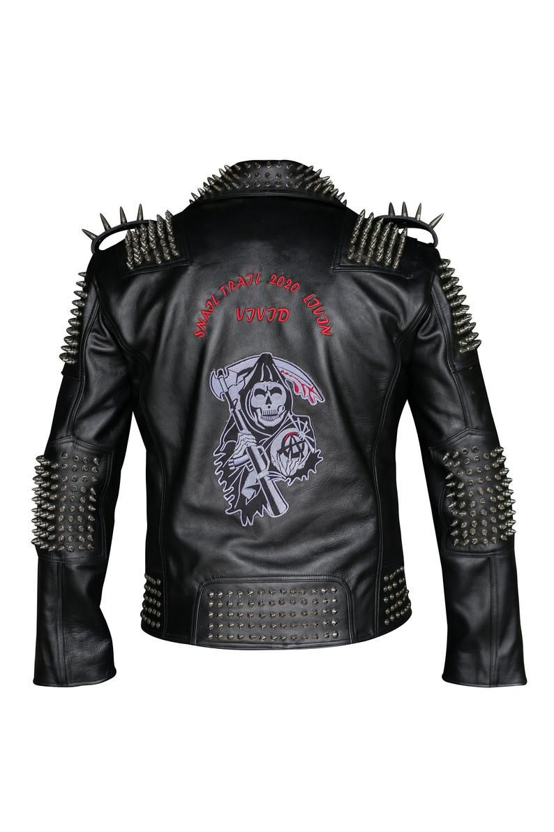 Gorgeous Men Silver Studded Leather Jacket Spike Studded Punk Scull Embroidery Patch At Back Studded Leather Jacket Leather Jacket Studded Leather [ 1191 x 794 Pixel ]