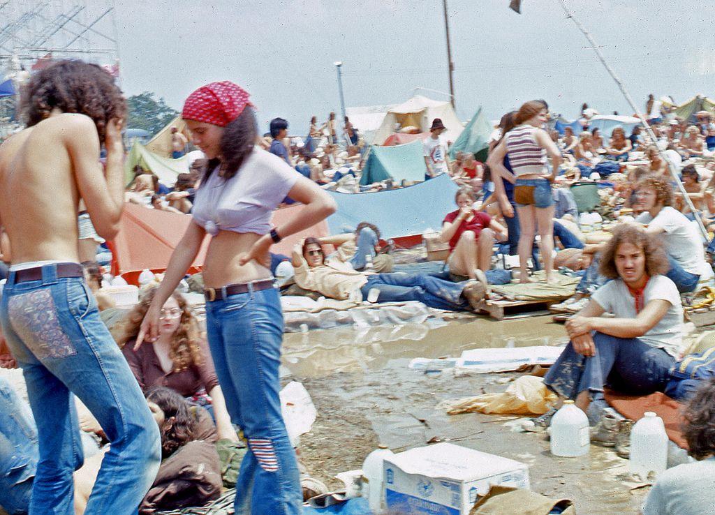 Pictures of fans at 1973 Summer Jam Rock Festival at Watkins Glen.