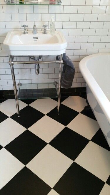 New Bathroom Black And White Chequerboard Vinyl Floor Tiles From