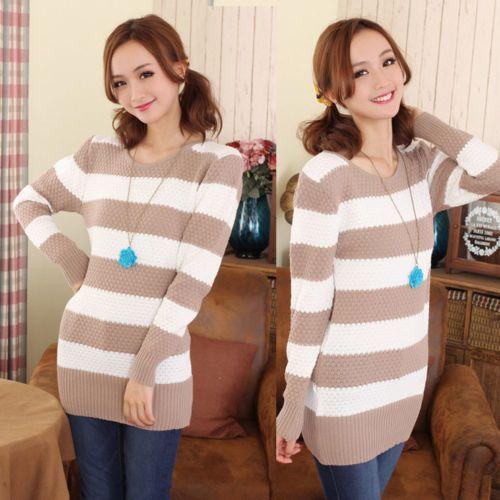 Women Ladies Knitted Sweater Stripe Long Sleeve Pullover Tops Jumper Winter K660