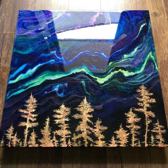 Gold Aurora Fluid Landscape Painting, Mixed Media Resin Art 111