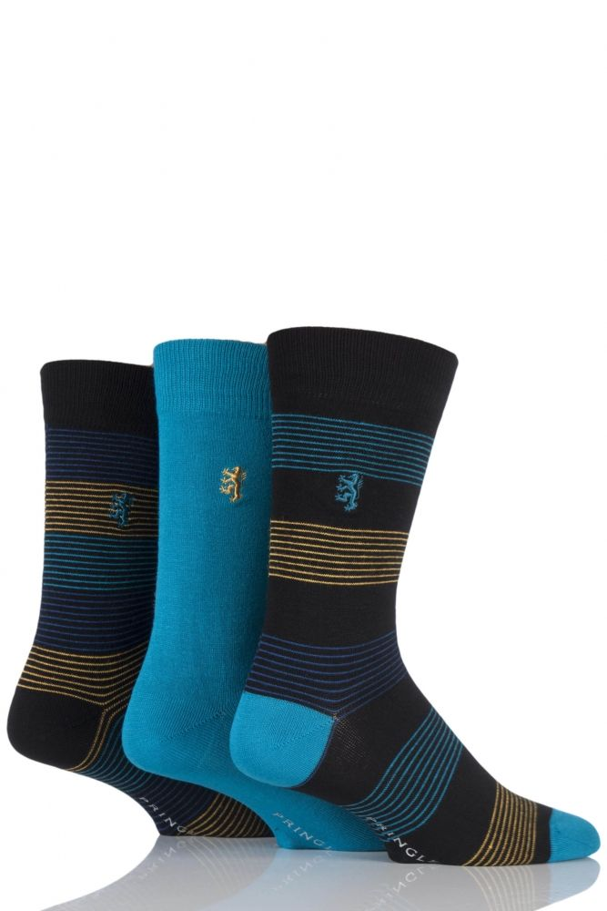 0012943255e Mens 3 Pair Pringle of Scotland Plain and Fine Striped Bamboo Socks £14.99