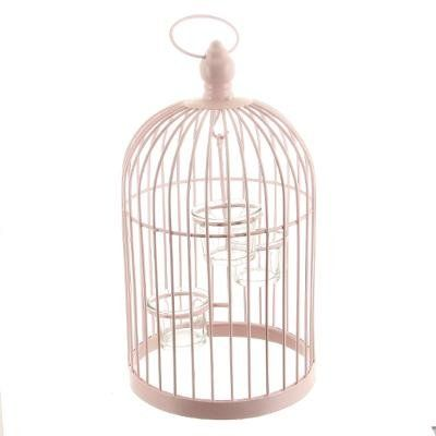 Cage Oiseaux Rose Pale Photophore Decoration Cage