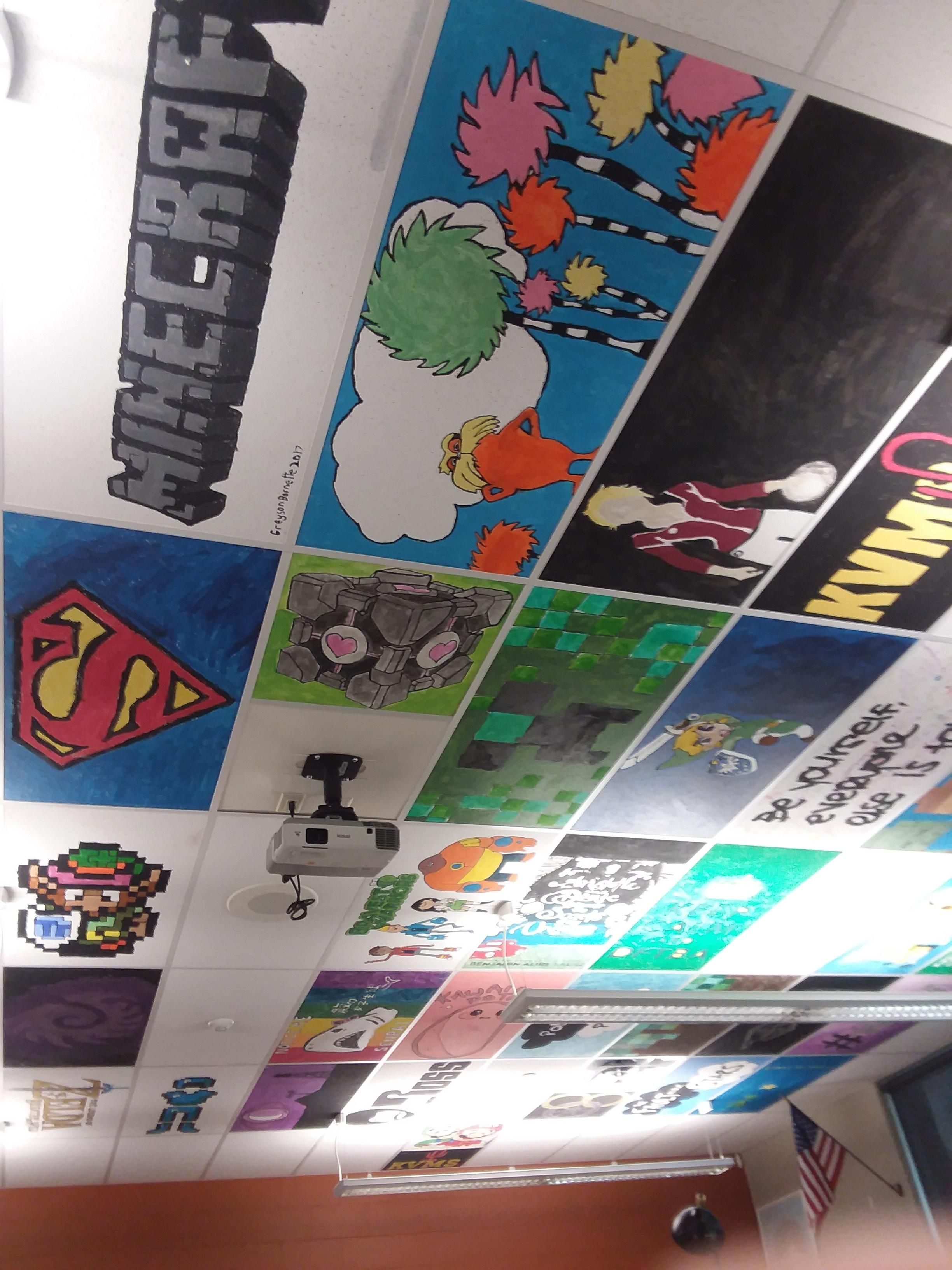 The Middle School I Go To Lets The 8th Graders Paint Ceiling Tiles For Their Favorite Teachees Https Ift Tt Ceiling Tiles Painted Painted Ceiling Ceiling Art