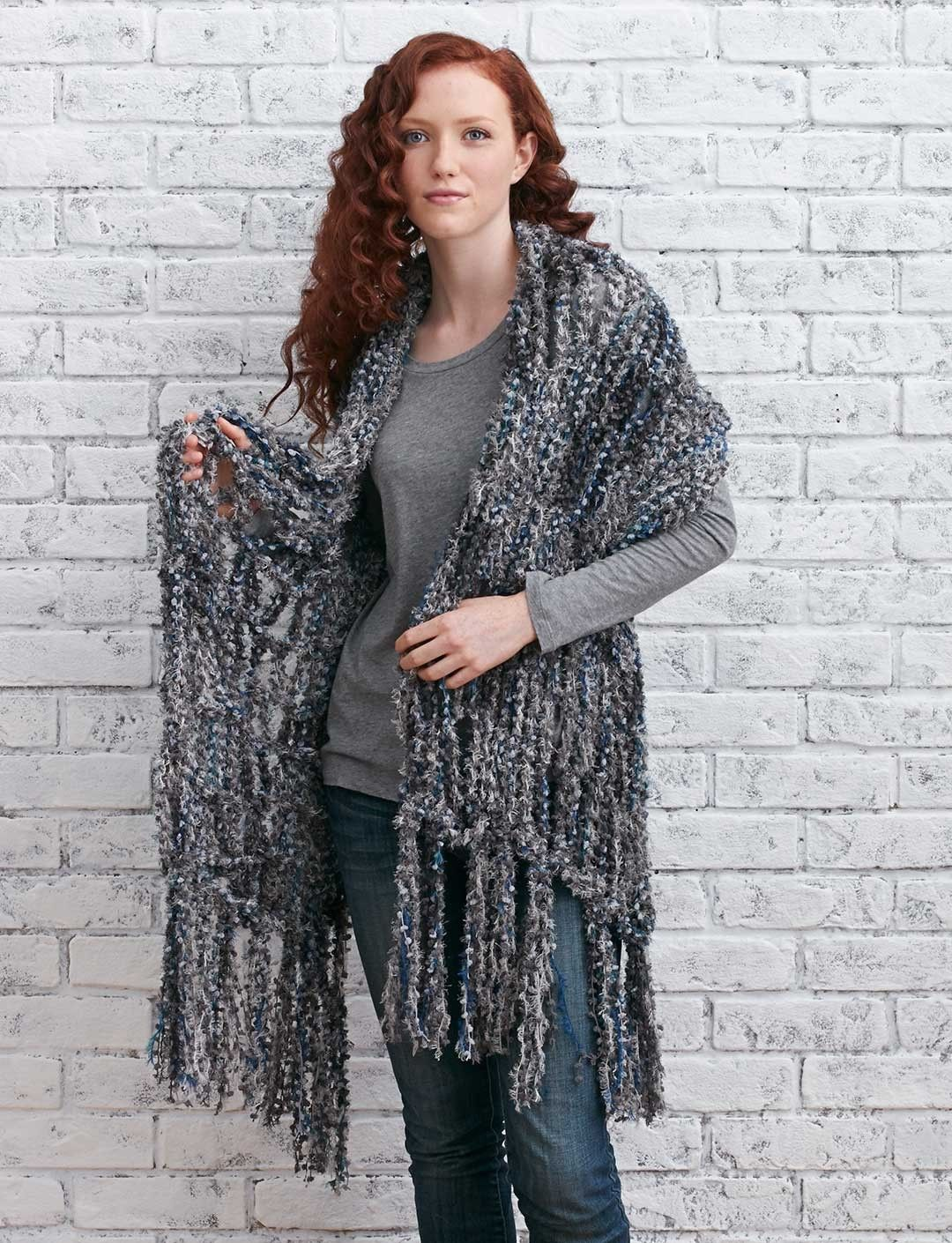 Arm Knit Fringed Wrap - Knitting Patterns - Patterns ...