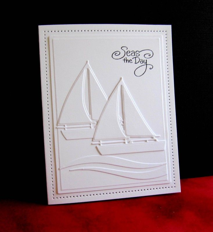 handmade card: FS497 Sailboat Race by catluvr2 ... white on white ...