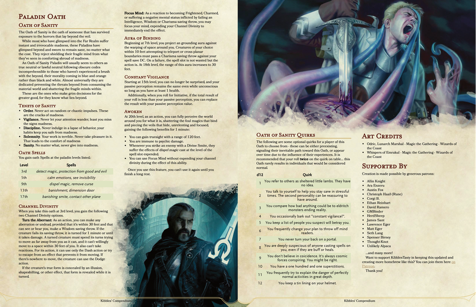 5e - Oath of Sanity Paladin, for those that refuse to take the easy road of madness! : dndnext ...