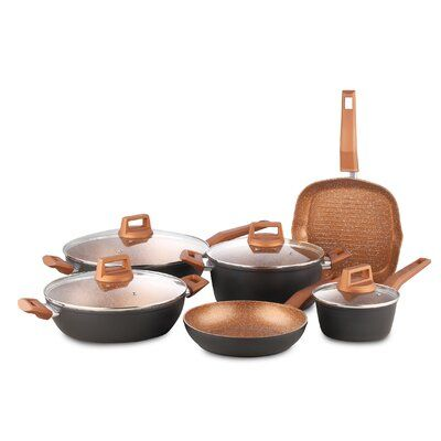 Chefventions 8 Piece Forged Aluminum Non Stick Cookware Set With