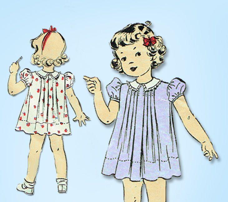 1930s Vintage Du Barry Sewing Pattern 2201 Cute Baby Girls Dress