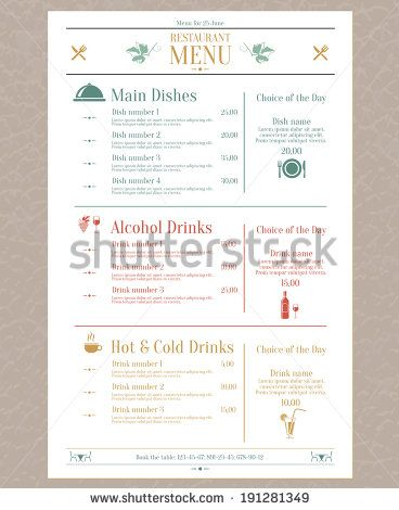 Elegant restaurant menu list with decorative elements vector