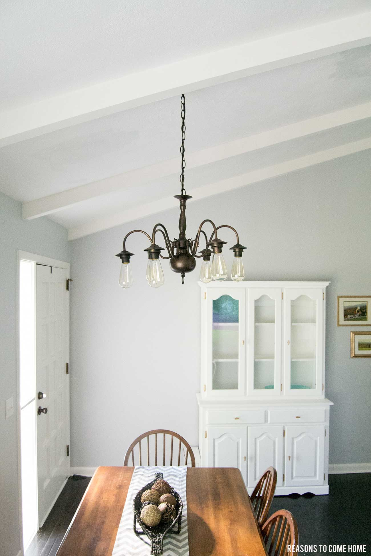 DIY Chandelier Makeover took older brass chandelier and reversed