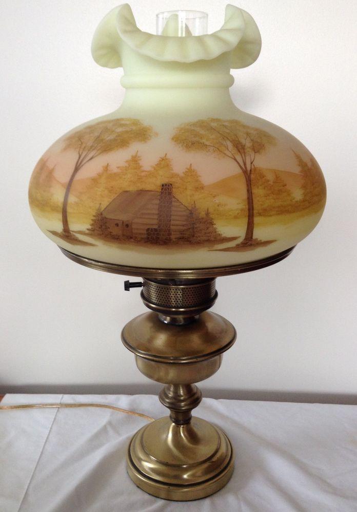 Fenton Art Glass Log Cabin On Custard Table Lamp 12 Shade Fenton Lamps Glass Art Vintage Lamps