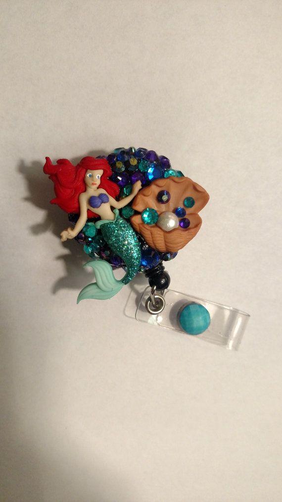 Ariel inspired badge reel Little mermaid ID clip by BadgeFancy