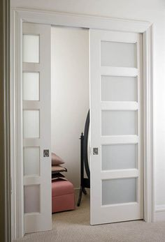 Doors for the den. Pocket frosted