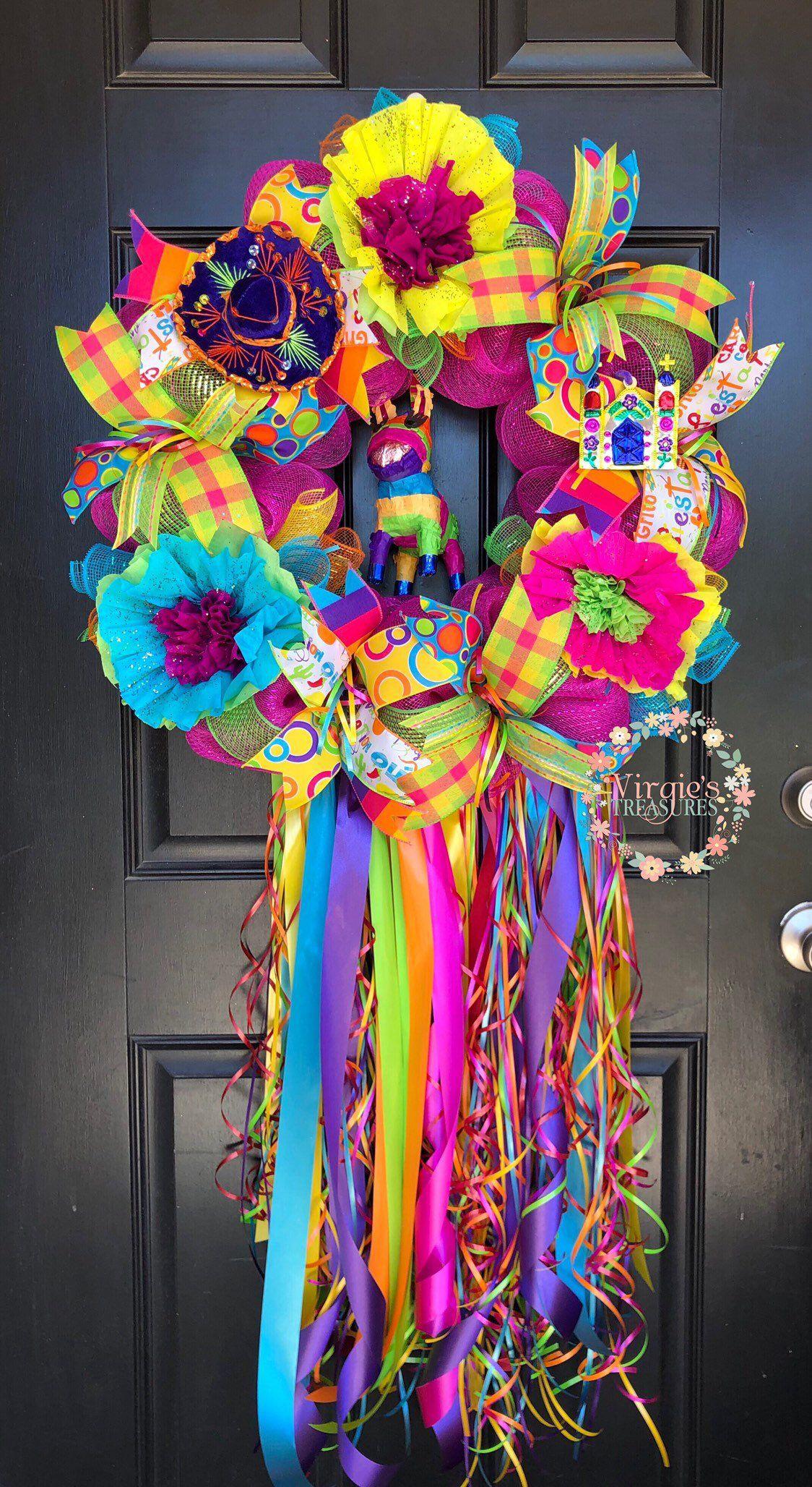Fiesta wreathcinco de mayo wreathfiesta deco mesh wreath