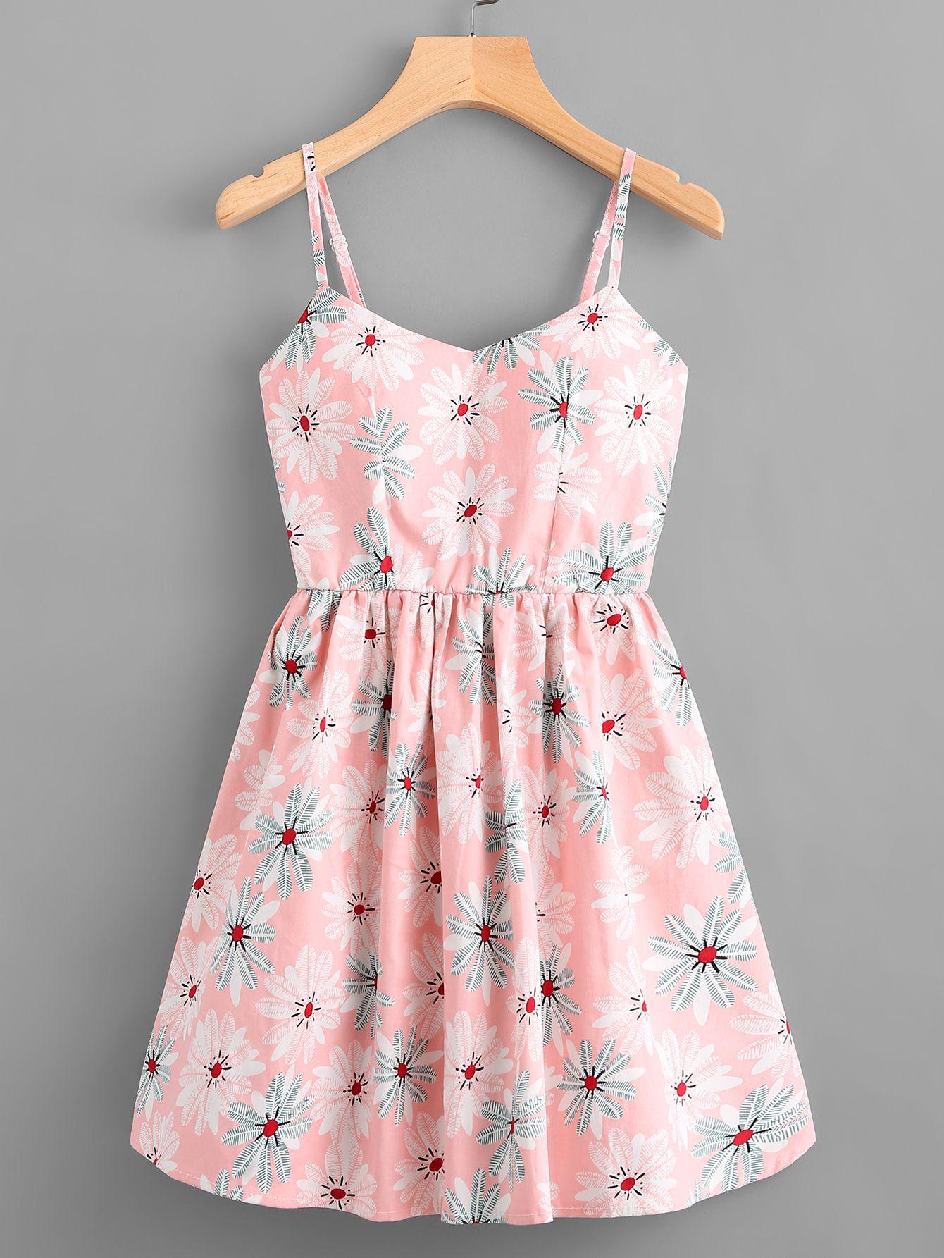 Leaf print random lace up back cami dress i would like these