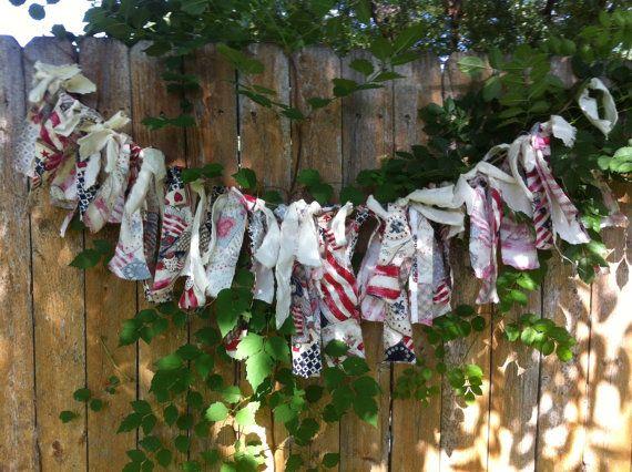 July 4th Remnant Ribbon Garland Patriotic July 4th by FAITHandLACE, $17.00