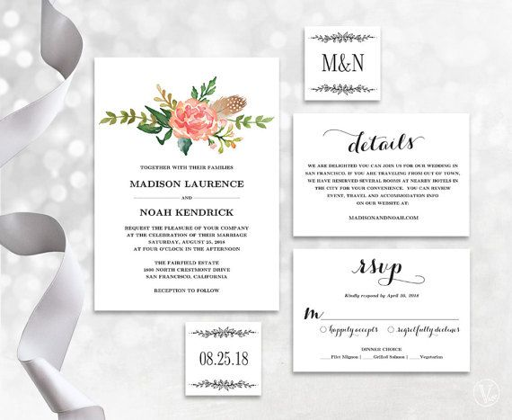 This wedding invitation template set includes five high-resolution templates: invitation card, rsvp card, details card, monogram and date seal/tag templates. These are INSTANT DOWNLOAD printable wedding invitation templates that are affordable and stylish. You can edit and print as many as you need. Print on kraft paper for rustic glam style or white/cream paper for a modern classic style.  ––––––––––––––––––––––––––––––  SIMPLE & EASY TO USE 1. Download the PDF file(s) 2. Open with Adobe…