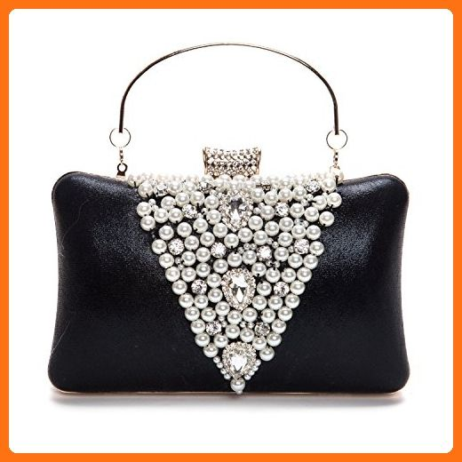 9c0ebc5dcb5 Chichitop Elegant Rhinestones Hard Clutch Pearl Evening Bag with Zip  Compartments,Black - Evening bags