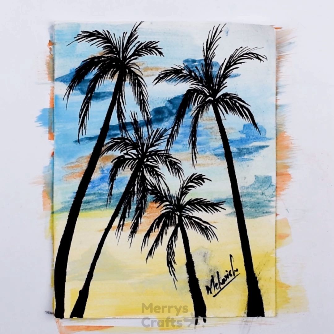 How To Draw Paint Coconut Tree Scenery In 2020 Coconut Tree Drawing Tree Drawing Scenery Paintings