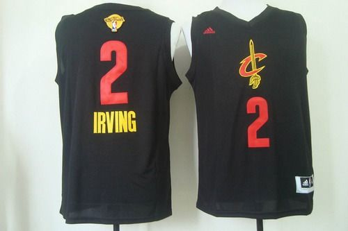 Men's Cleveland Cavaliers #2 Kyrie Irving 2016 The NBA Finals Patch Black With Red Fashion Jersey