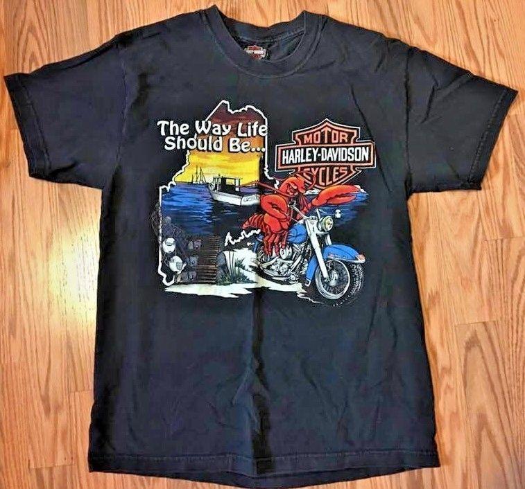 Harley Davidson Biker Motorcycle T Shirt Central Maine Bangor Size Medium Harleydavidson Shortsleevetshirt Motorcycle Tshirts Harley Davidson Mens Tops