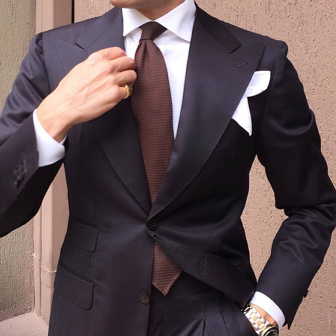 mens black suit white dress shirt brown tie white