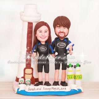 Lighthouse Scuba Diving Wedding Cake Toppers