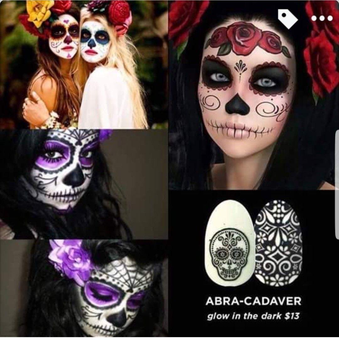 These gorgeous Abra-Cadaver glow in the dark nail design ...