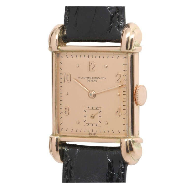 Vacheron & Constantin Rose Gold Square Wristwatch with Unusual Lugs circa 1940s   From a unique collection of vintage wrist watches at https://www.1stdibs.com/jewelry/watches/wrist-watches/