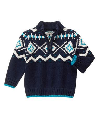 Gymboree Dark Marine Fair Isle Half-Zip Sweater - Infant & Toddler ...