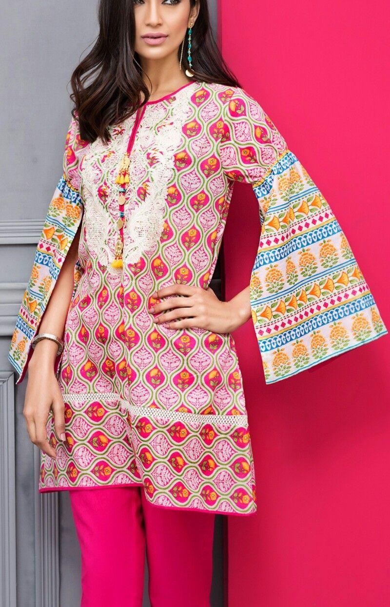 Hot pink and orange dress  Khaadi spring  vol  kurti  Pinterest  Kurti Designer