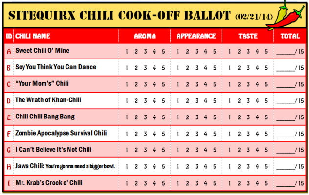 Chili Cook-off Judging Sheet Related | Chili cook off, Chilli ...