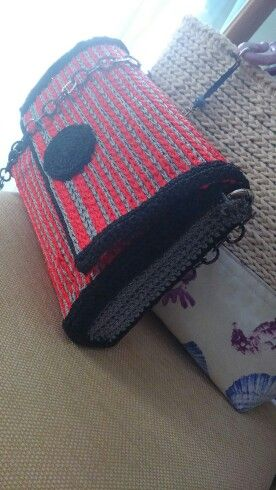 Crochet pouch in three colours...