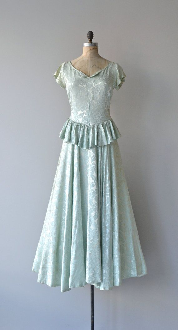 Long Goodbye dress | vintage 1940s dress • brocade 40s max dress ...