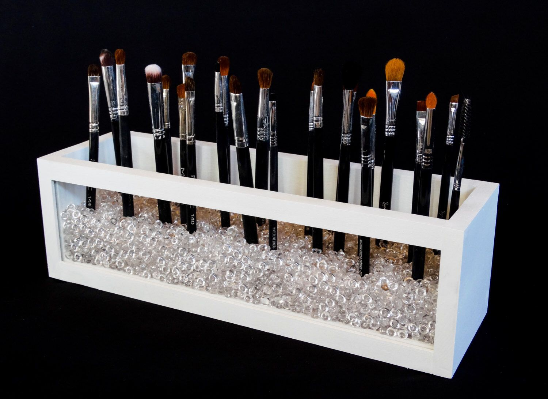 Large Wood and Acrylic Makeup Brush Holder Makeup Brush