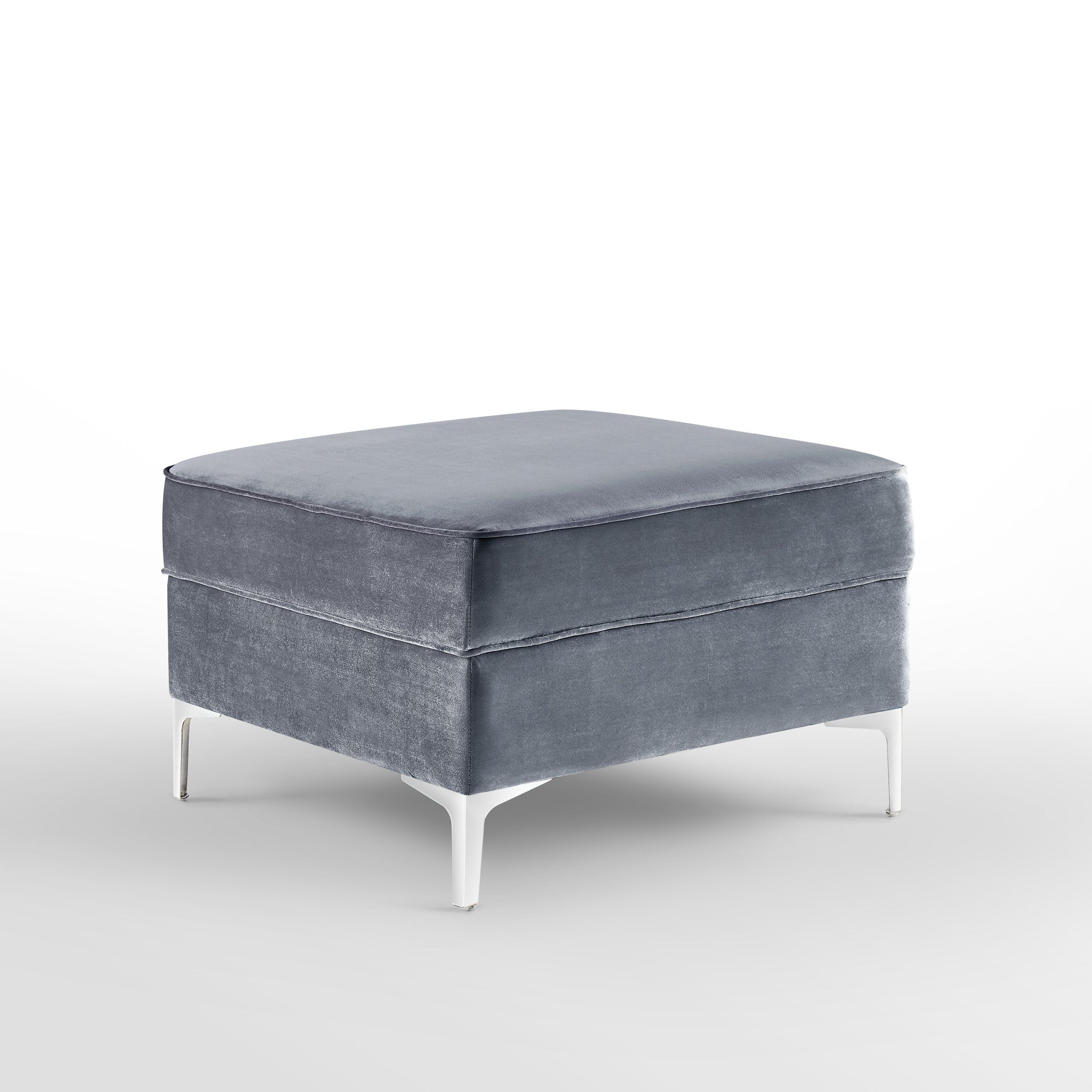 Awesome Giovanni Grey Velvet Storage Ottoman Chrome Legs Square Squirreltailoven Fun Painted Chair Ideas Images Squirreltailovenorg
